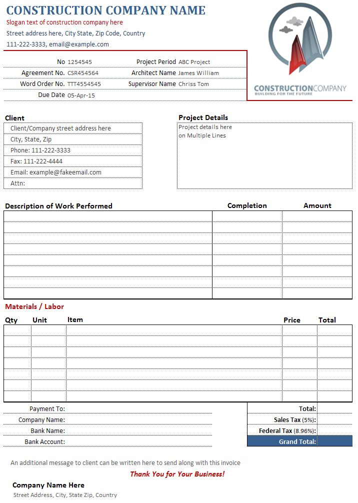 construction  contractor invoice template