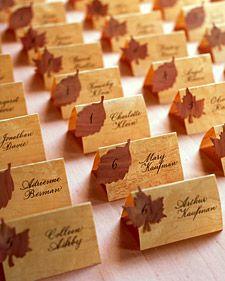 Neat idea for rustic or fall weddings using wood veneers