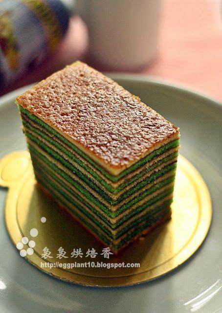 袅袅烘焙香: 班兰千层蛋糕-Kek lapis pandan