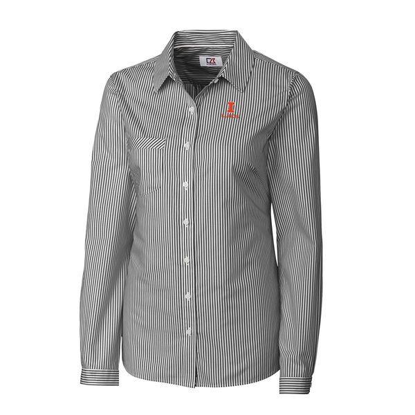 Illinois Fighting Illini Cutter & Buck Women's Mini Bengal Stripe Button-Up Shirt - Charcoal - $79.99