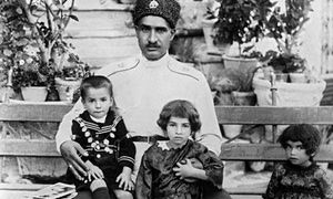 Reza Khan Pahlavi Shah with his children, Mohammad Reza, left, Princess Schams, centre and Princess Ashraf Pahlavi in 1928.