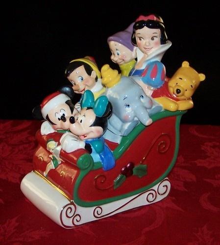 Disney Store Exclusive Christmas Sleigh Cookie Jar Disney 7 Characters