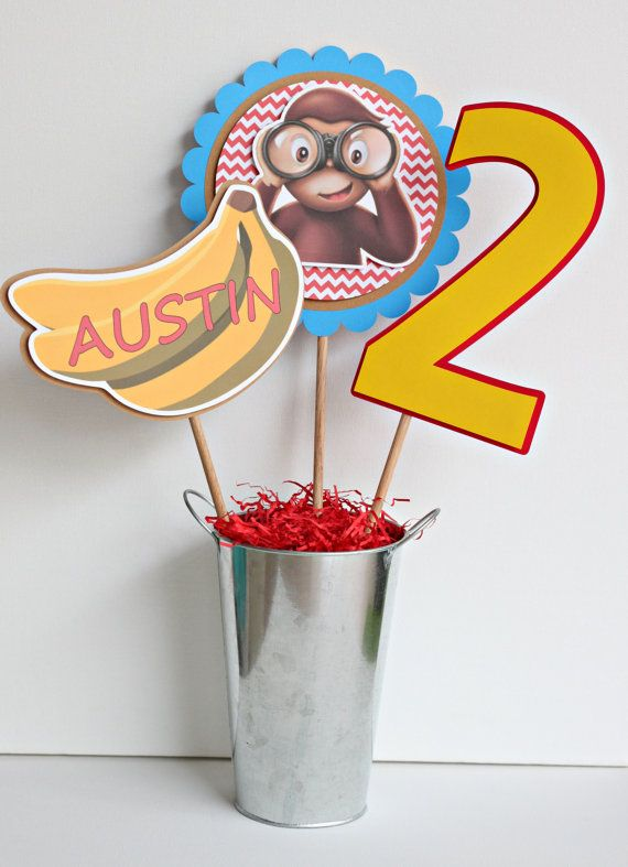 New Item***Curious George customized birthday party centerpiece sticks / READY-MADE / set of 3