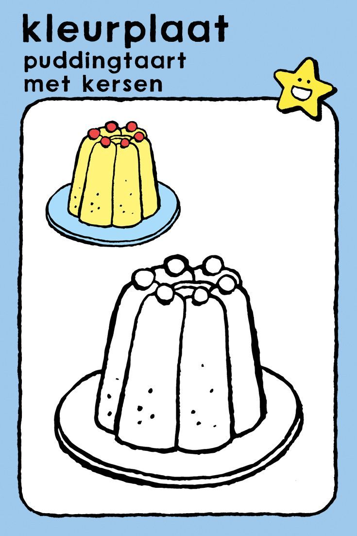 Puddingtaart Met Kersen Kiddikleurprenten Kersen Kerstkleurplaten Puddingtaart