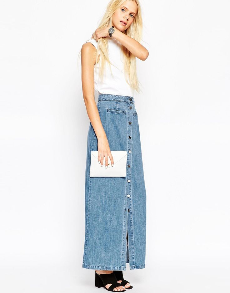 image 4 of asos denim maxi skirt with button front in mid