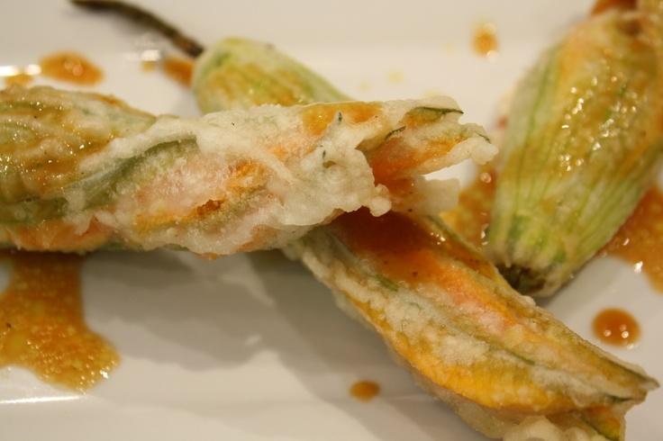 Zucchini Blossoms at our lunch restaurant in La Scuola di Eataly, Pranzo!