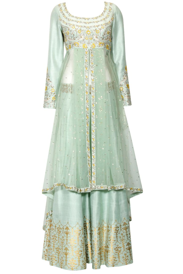 Mint green birds and flowers embroidered anarkali and sharara pants set available only at Pernia's Pop Up Shop.#perniaspopupshop #shopnow #anjumodi#bajiraomastani #bajiraomastanithefilm#partyseason #happyshopping #designer #clothing