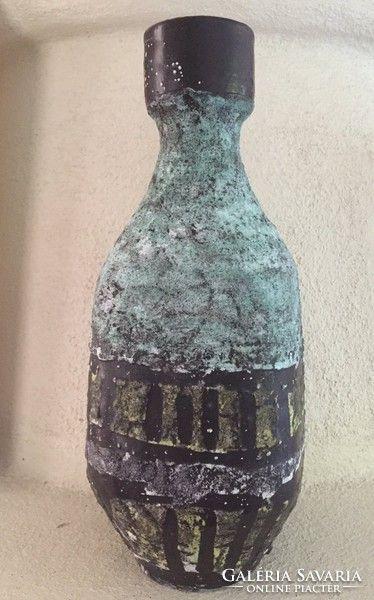 Gorka Lívia jelzett nagy váza - big blue ceramic vase signed