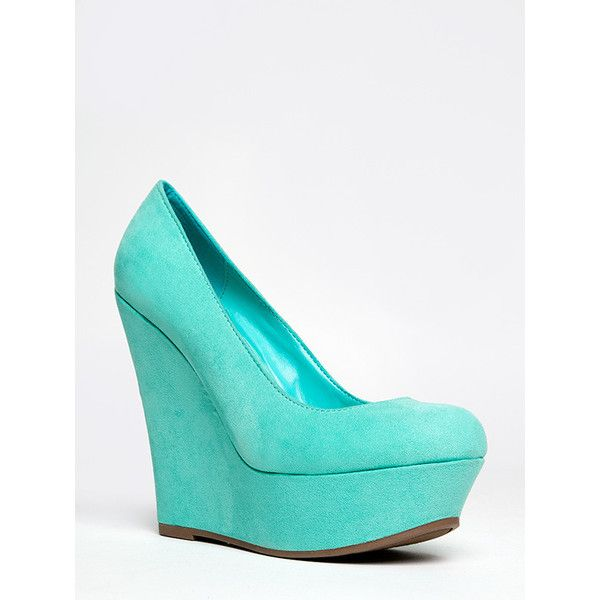 CILO-11S Wedge ($32) ❤ liked on Polyvore featuring shoes, heels, mint, breckelles shoes, platform wedge shoes, mint shoes, mint wedge shoes and mint green wedges shoes
