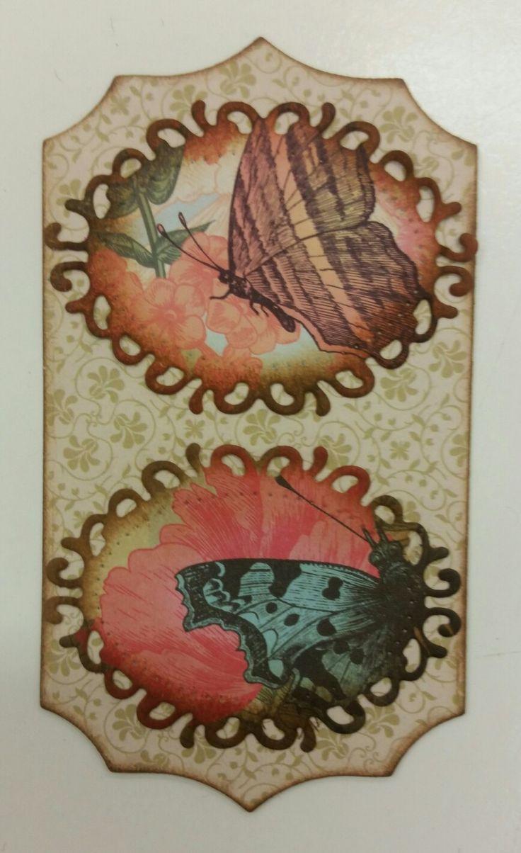 Recupero volantino salse di Nirano (Mo), fustellato con thilits e inchiostrato con distress ink effetto anticato, la base è  un foglio di legno 1 mm.
