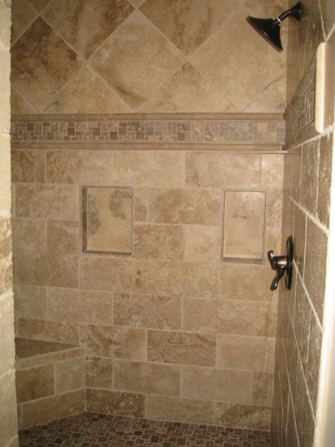Master bathroom chiseled travertine shower http for Travertine tile designs