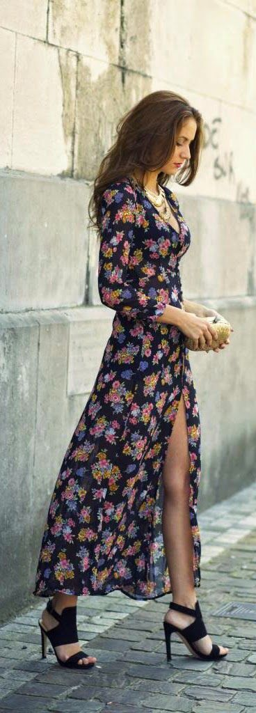 Love Floral Print Maxi Dress with Gorgeous Necklace and Comfy Shoes | Spring Outfits