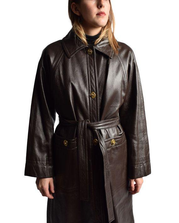 années 1960 bonnie Cashin cuir marron manteau des par ShopNarro