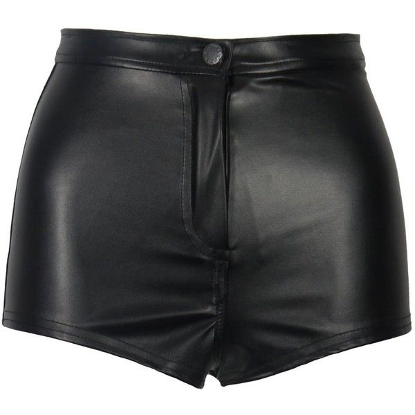 Black Wet Look PVC Shiny Disco High Waisted Hot Pants (58 BRL) ❤ liked on Polyvore featuring shorts, bottoms, short, pants, short shorts, high rise shorts, high waisted disco shorts, high-waisted shorts and pvc shorts
