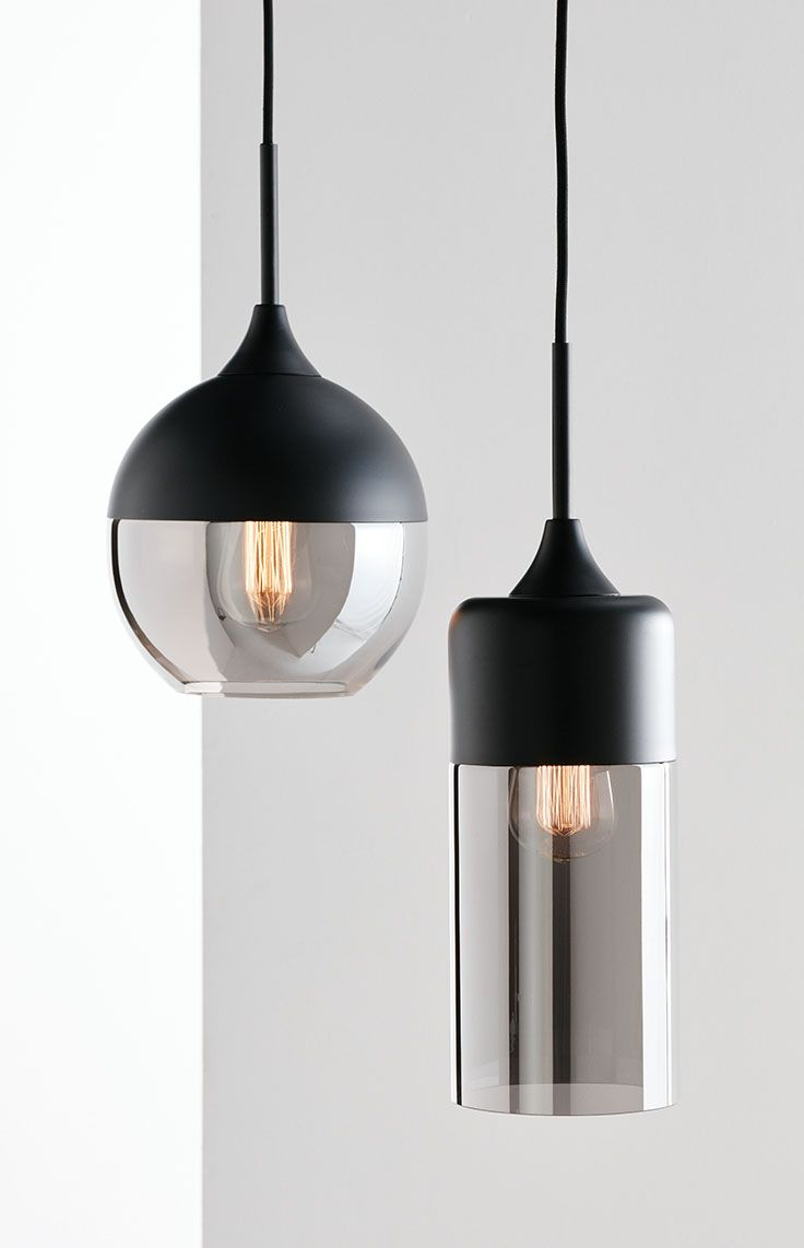 The Beacon Lighting Lunar 1 Light Round Pendant In Black With Smoke Gl
