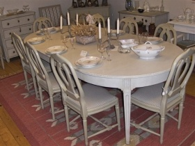 1800s gustavian swedish dining table and chairs from swedish interior