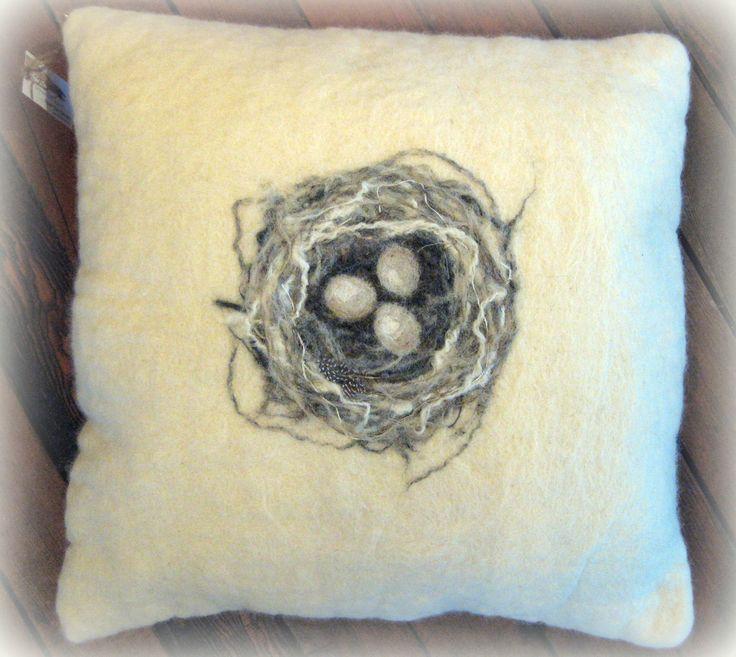 Hand felted Nest cushion