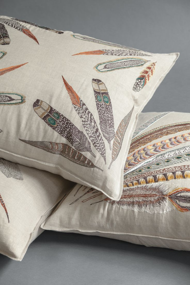 Coral & Tusk embroidered Feather Pillows  //  http://www.coralandtusk.com/collections/pillows/feather   //   photo by Will Ellis