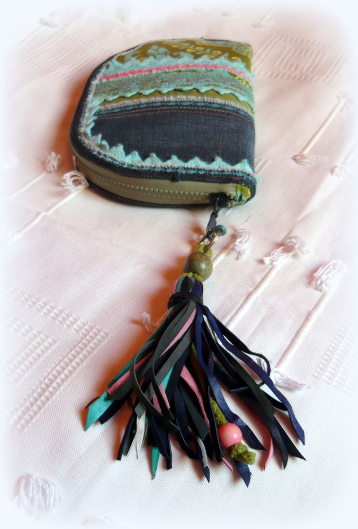 Handmade by Judy Majoros - Denim  turquoise-fringe -crochet wallet-clutch with…