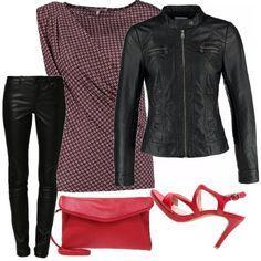 Vestito nero giacca rossa vs penny