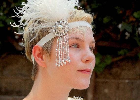 1920s headpiece silver and white Gatsby headband flapper