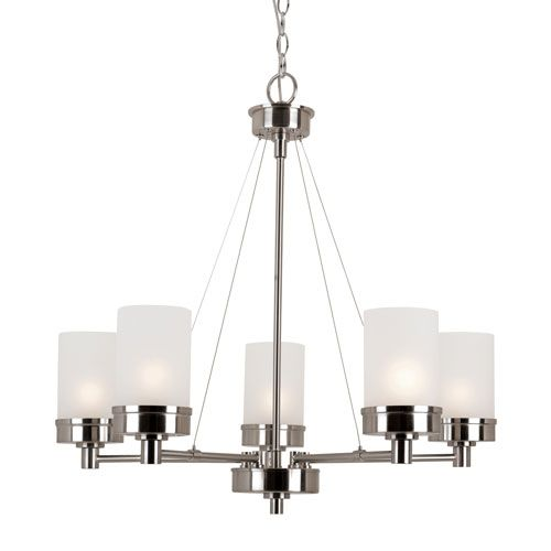 $ 321 Brushed Nickel Finish 26 Inches High 28 Inches Wide 5 - 60 Watt Medium Base Bulbs  Brushed Nickel Urban Swag 5 Light Chandelier with White Frosted Glass