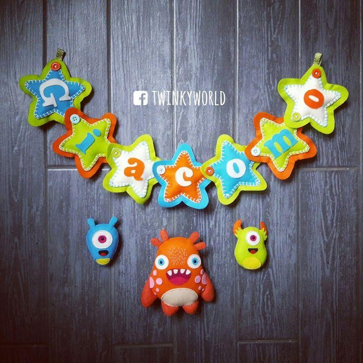 Felt garland - Baby Name - Giacomo with monsters - name banner