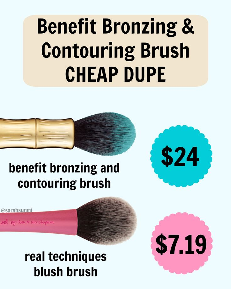 An exact dupe for benefit cosmetics' beautiful bronzing and contouring brush ($24) is the real techniques blush brush (7.19 on drugstore.com). #dupes #makeup #benefit #realtechniques