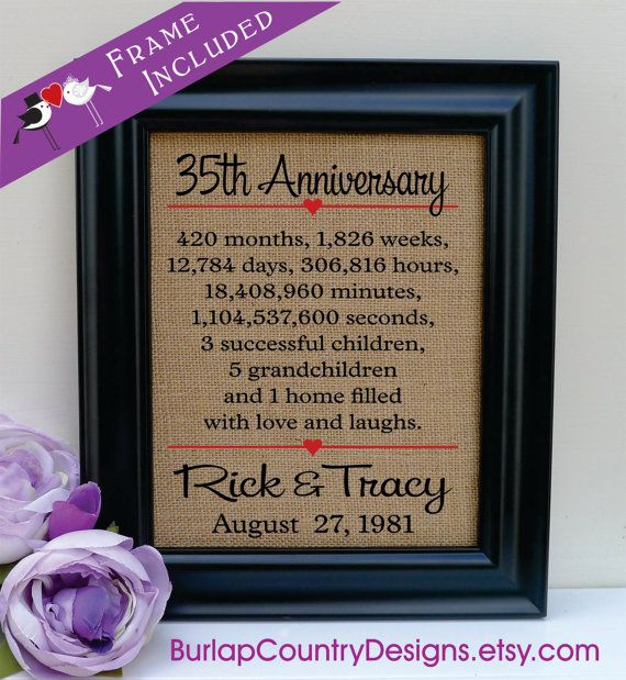 FRAMED 35th anniversary 35th wedding anniversary gift 35th