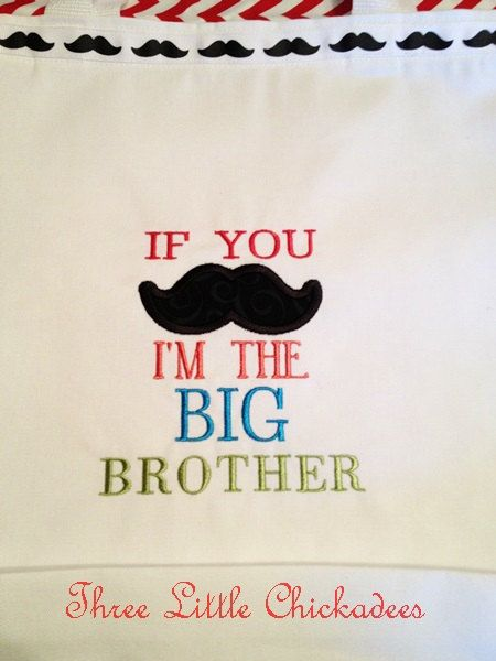 Little Man Big Brother Mustache Gift Bag  by ThreeLittleChickadee, $21.95