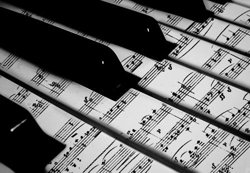 Piano keys covered in sheet music. For any up-cycling you do with keys, this could be a good cover for keys without character . via Mike DeGasperis #DIY #project