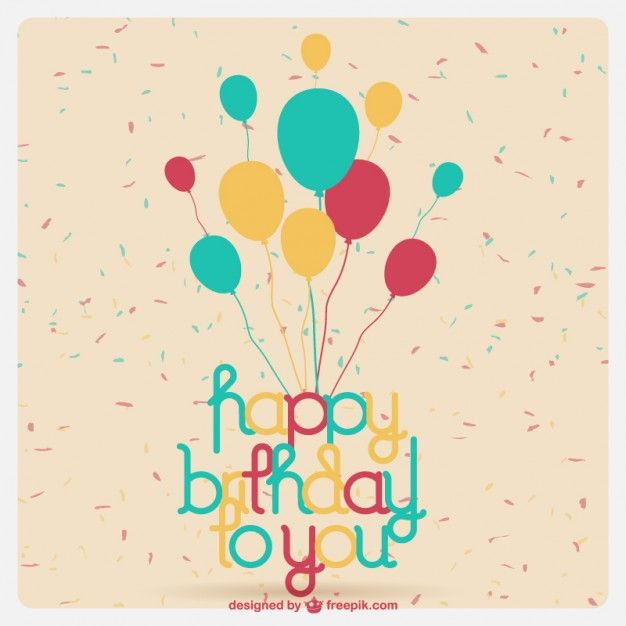 Cartão de aniversário com balões Vetor grátis