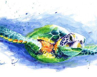 Aquarell TURTLE PRINT – Meerestiere Kunst, Meeresschildkröte drucken, Meerestiere Kunst, Schildkröte Liebhaber, Schildkröte Geschenke, Meerestiere Dekor, Meeresschildkröte Malerei