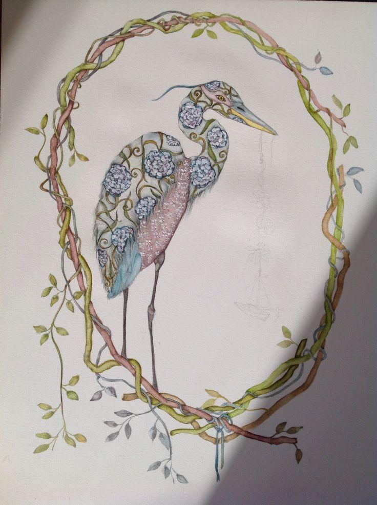 Heron illustration #watercolor #workinprogress