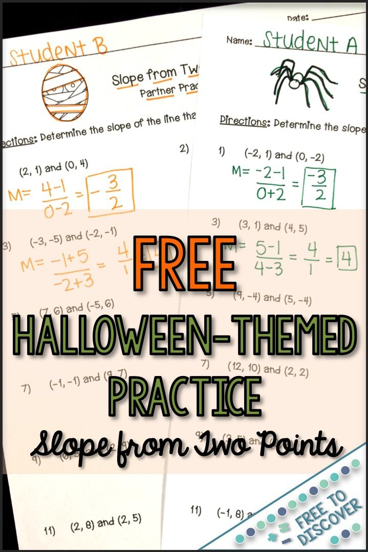 Halloween Calculating Slope from Two Points Partner
