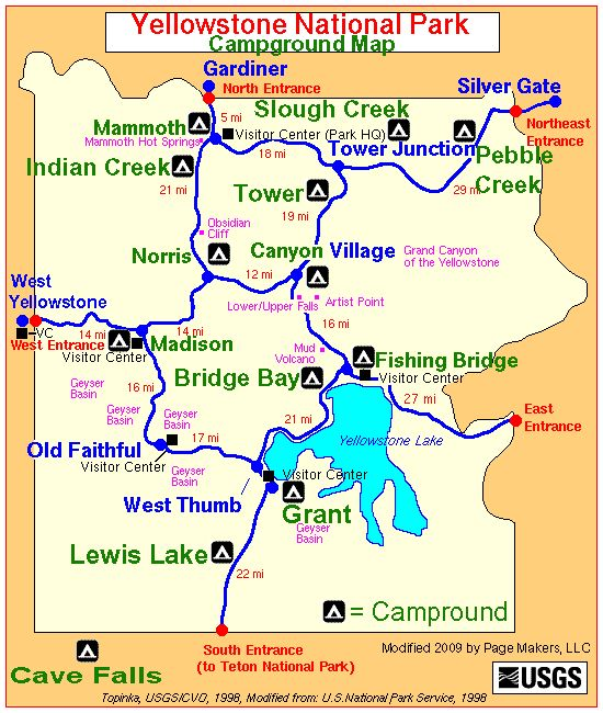 Yellowstone National Park Campground Map