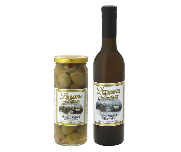 For the ideal dirty martini, look no further than theDirty Martini Olive Juice and Martini Olives from Lehmann Farms.