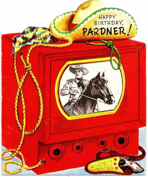 Vintage Birthday Card TV Television Western Cowboy Horse