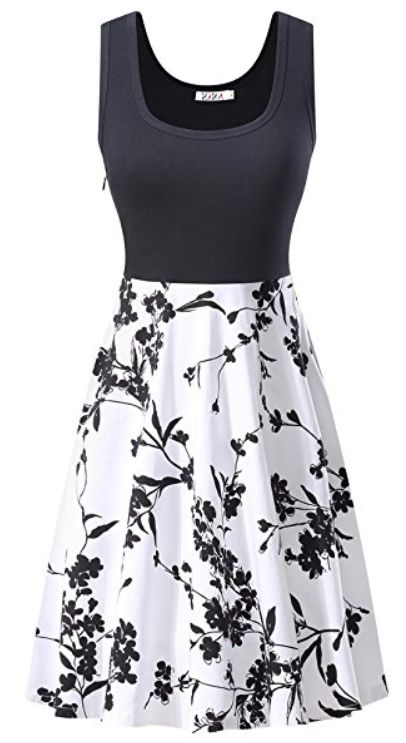KIRA Women's Vintage Scoop Neck Midi Dress Sleeveless A-line Cocktail Party Tank Dress
