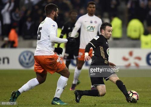 Lyon's French forward Mathieu Valbuena ® vies... #saintquentin: Lyon's French forward Mathieu Valbuena ® vies Montpellier's… #saintquentin