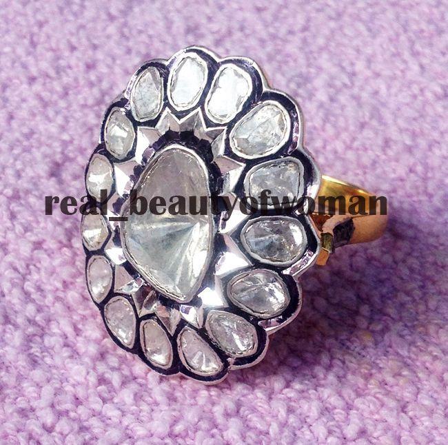 Art Nouveau 2.79ct Natural Uncut Polki Antique Cut Diamond .925 Silver Ring Band #realbeautyofwoman