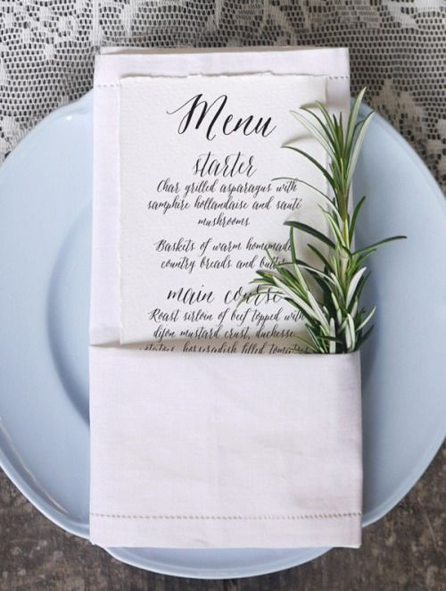 place setting with fresh rosemary