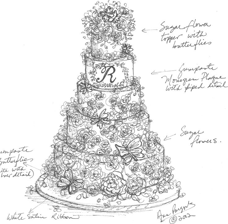 Sugar Sketch Cake Design : Martin Wedding Cake Sketch Sketches Pinterest ...