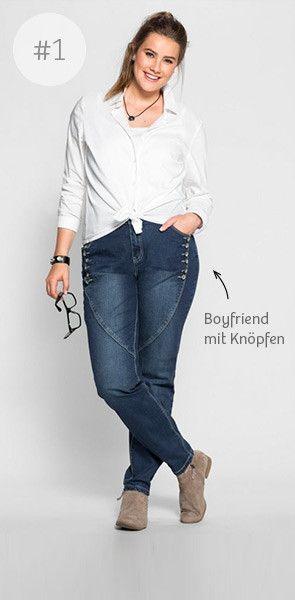 Denim Special - aktuelle Jeansmode für Plus Size Frauen | sheego | stretch-elastische Qualität | Boyfriend mit Deko-Knöpfen