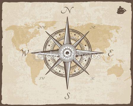 Bússola náutica vintage. Antigo mapa vetor papel textura com armação de borda rasgada. Rosa dos ventos — Ilustração de Stock #71073119