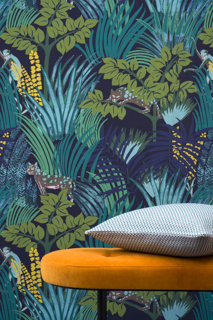"from Pierre Frey Jungle collection Width 140 cm/55"" Repeat : (V) 70 cm /27.5"" (H) 70 cm/27.5"" Non woven paper  Available per meter"