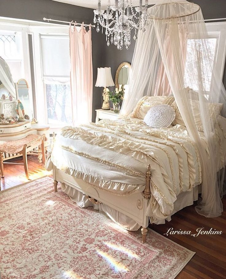 French Inspired Romantic Bedroom With Charcoal Gray Walls
