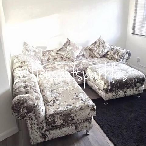 1***A Diana Crushed Velvet Corner Suite with Matching Footstool #exclusive #sofa #crushed #velvet #corner #glam #sparkles