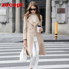 Zocept 2016 Sonbahar Kış Yeni High-end Çift Taraflı Kaşmir Palto Kadın Uzun Kollu Yün Katı Uzun ceket Kadın sıcak giysiler(China (Mainland))