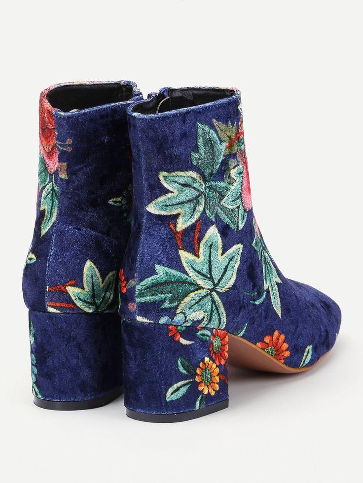 Shop Floral Print Side Zipper Ankle Boots online. SheIn offers Floral Print  Side Zipper Ankle